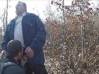 Sucking grandpa in the forest
