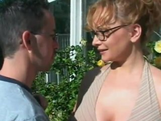 Mature chick down glasses takes hard pussy pounding absent from