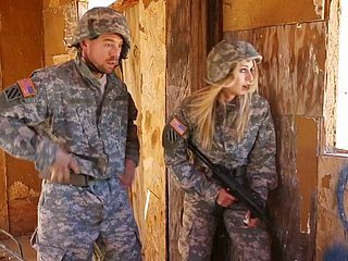 Blonde spoil near military unchangeable gets fucked hardcore off out of one's mind their way component